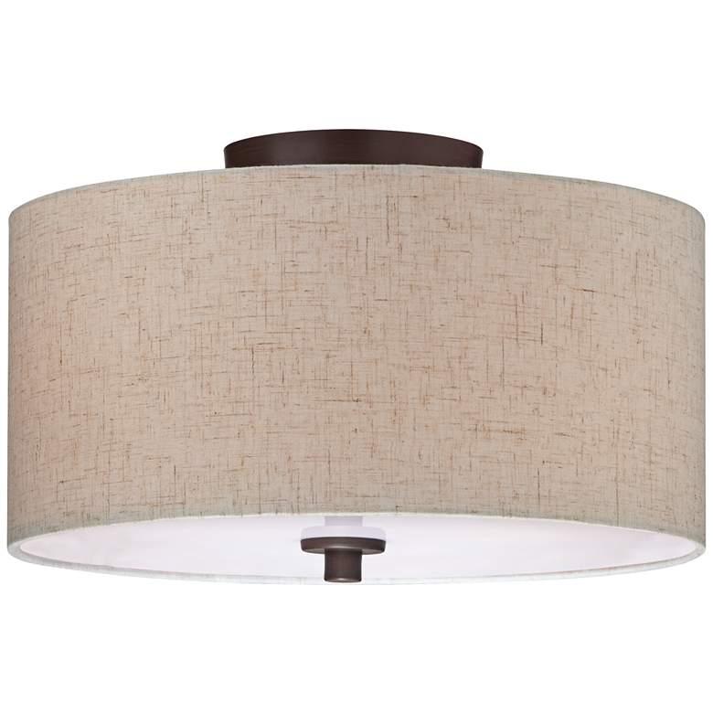 "Sylvan 14"" Wide Off-White Fabric Drum Ceiling Light"