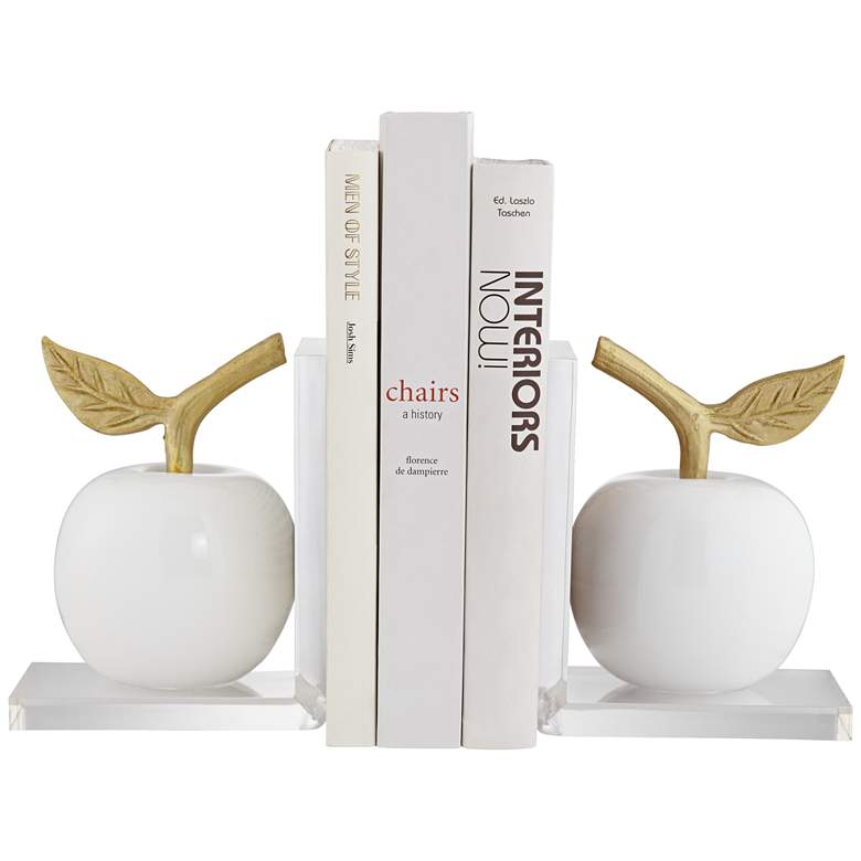 """White and Gold 7"""" High Apple Bookends Set"""