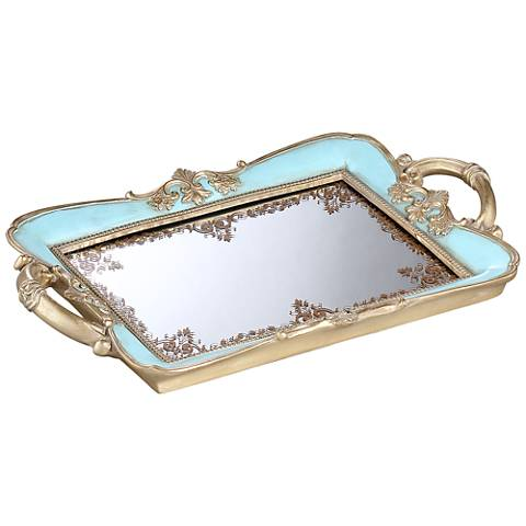 Capolla Turquoise and Gold Mirrored Tray