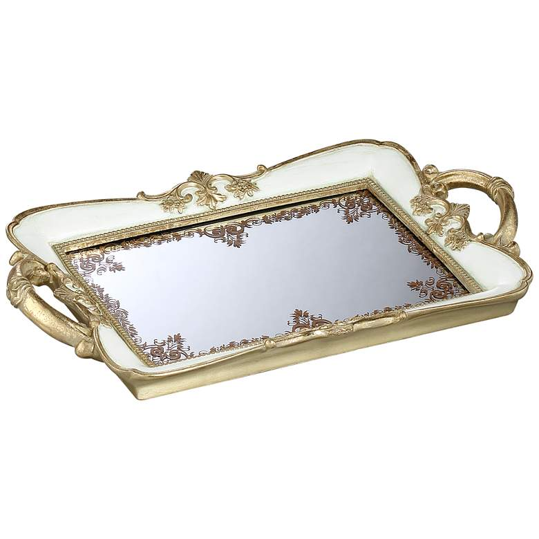 """Capolla 13"""" Wide White and Gold Mirrored Tray"""