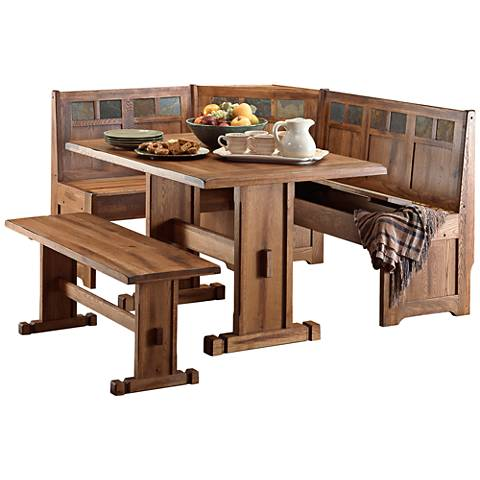 Sedona Rustic Oak 4-Piece Breakfast Nook Set