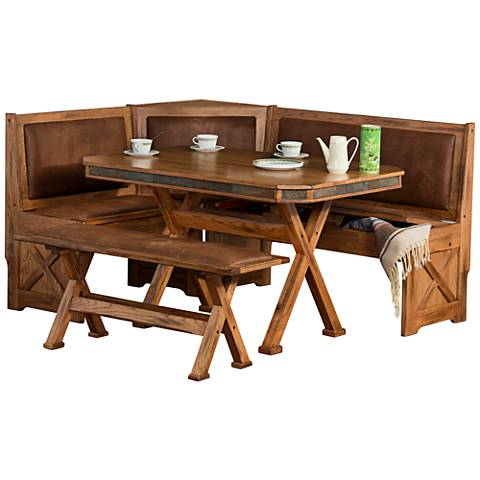Sedona Rustic Oak 4-Piece X-Shaped Breakfast Nook Set