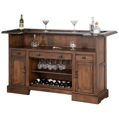Savannah Antique Charcoal Wood 2-Door Bar