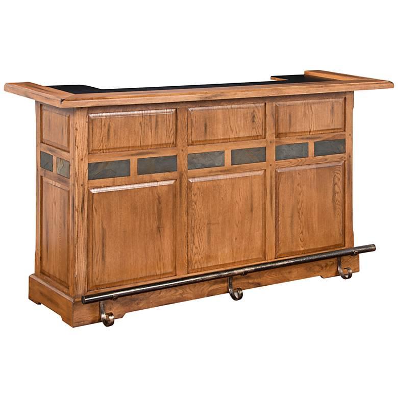 """Sedona 78"""" Wide Rustic Oak Wood 2-Door Bar"""