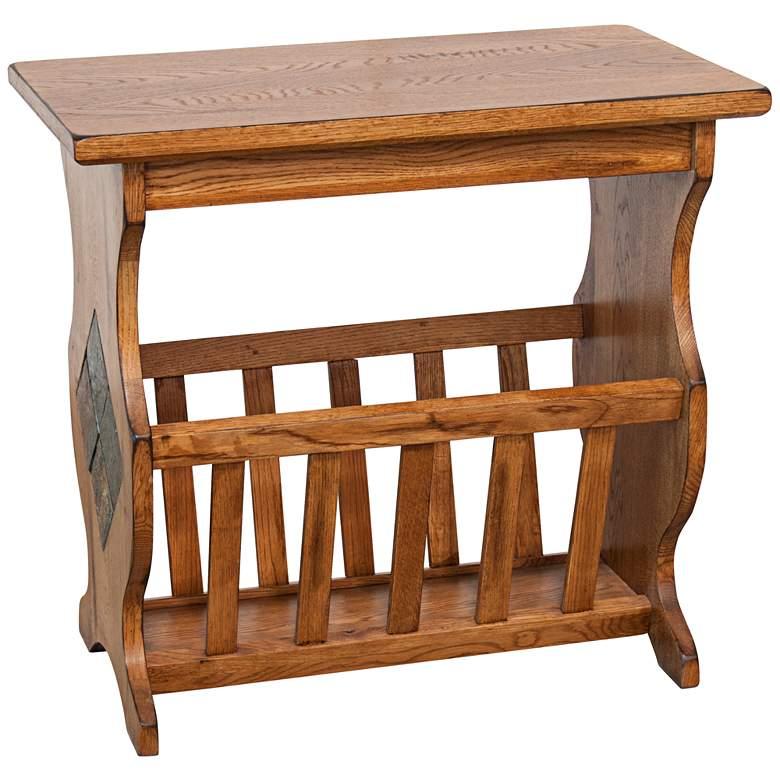 "Sedona 25"" Wide Rustic Oak Wood Magazine Table"