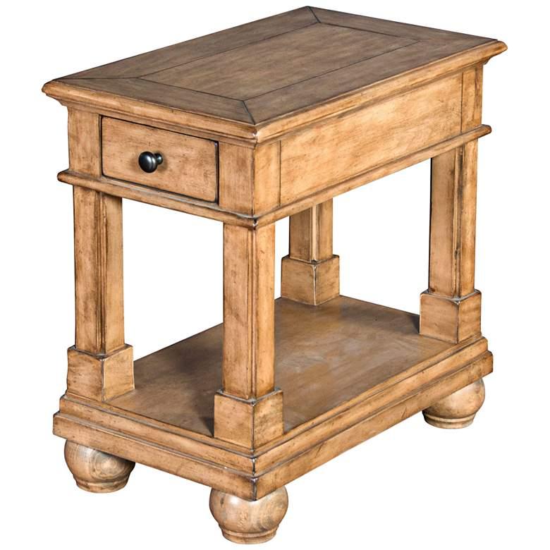 "Dockside 15"" Wide Desert Sand Wood 1-Drawer Chairside"