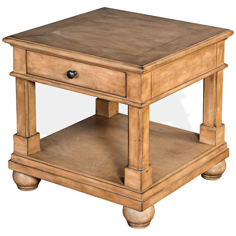 "Dockside 24"" Wide Desert Sand Wood 1-Drawer Square End Table"