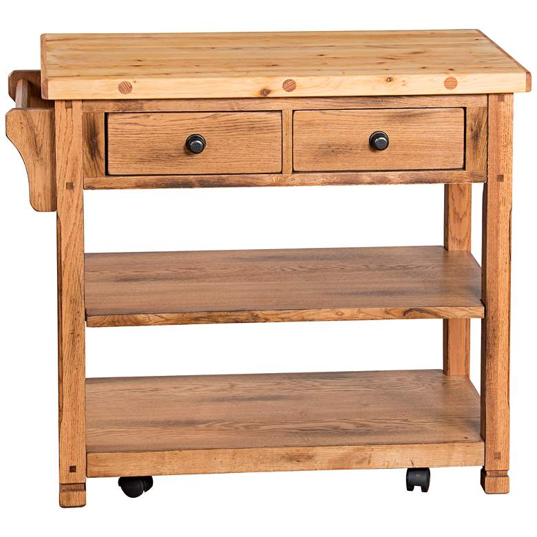 "Sedona 38"" Wide Rustic Oak Wood 2-Drawer Kitchen Island Cart"