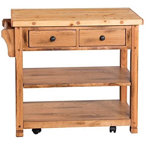 Sedona Rustic Oak Wood 2-Drawer Kitchen Island Cart