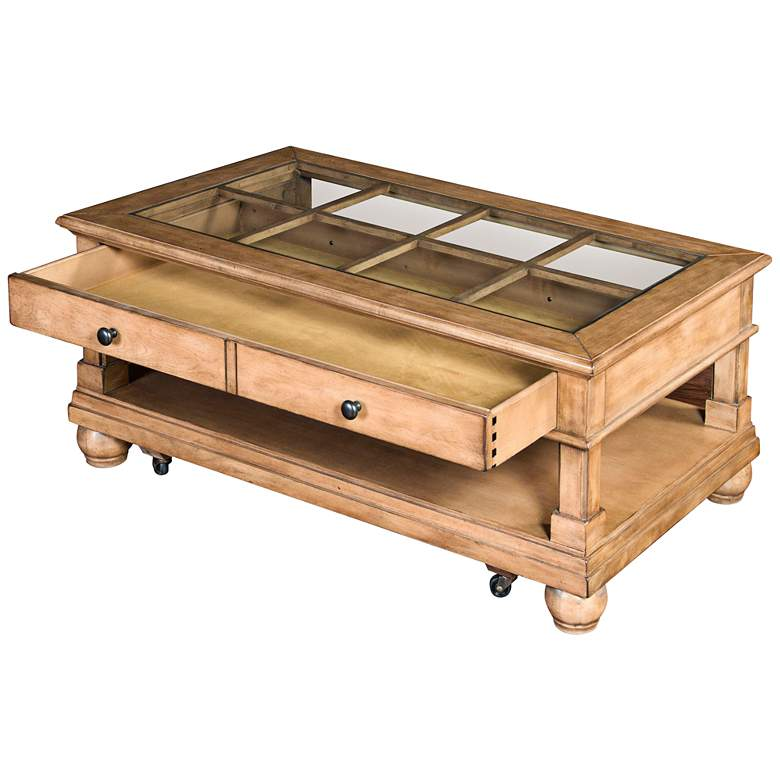 """Dockside 48"""" Wide Desert Sand Wood and Glass Coffee Table"""
