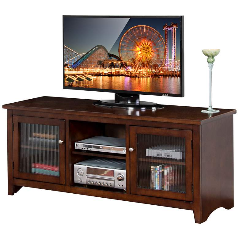 "Cambridge 62"" Wide Cappuccino Wood Glass Door TV Console"