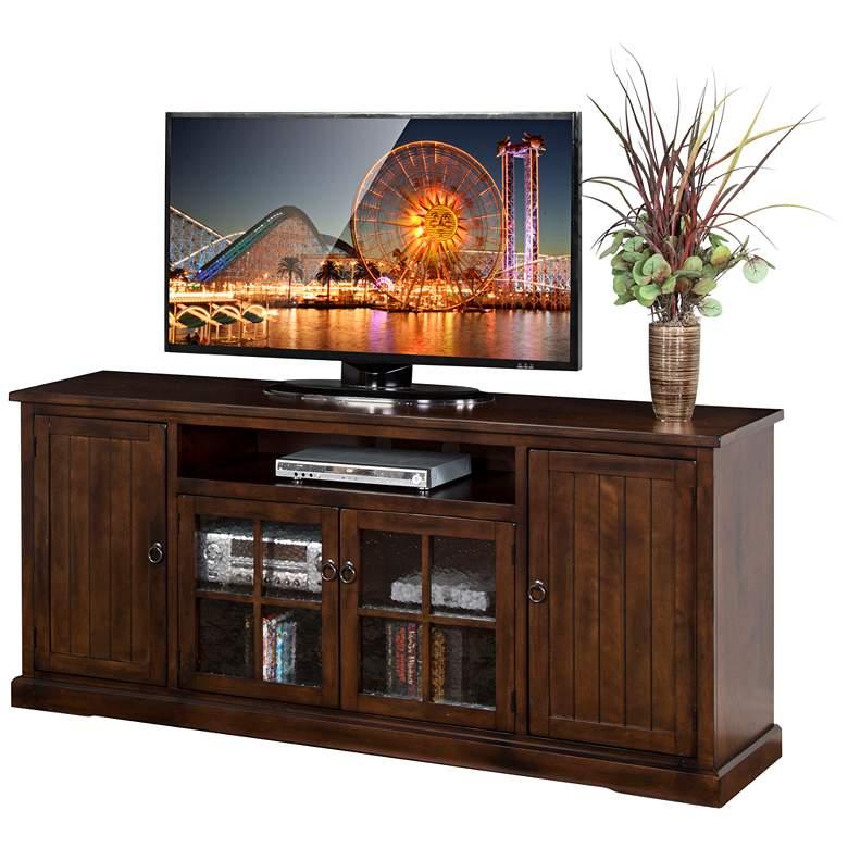 """Santa Fe 78"""" Wide Dark Wood and Glass Door TV Console"""