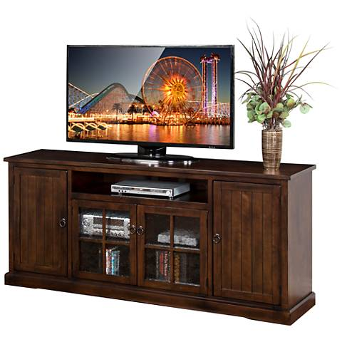 "Santa Fe Dark Chocolate Wood 78"" 4-Door TV Console"