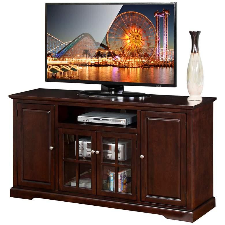 """Monterey 64"""" Wide Merlot Wood 4-Door TV Media"""