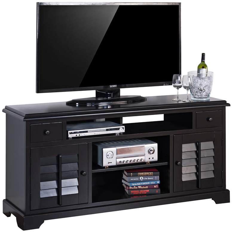 """Hoboken 64"""" Wide 2-Door Black Wood TV Console"""