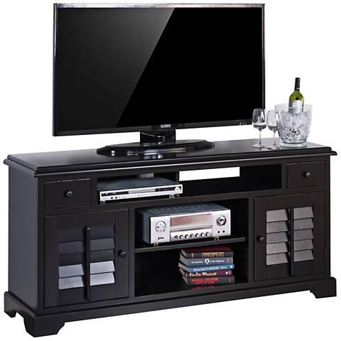 Hoboken Black Wood 2-Door TV Console