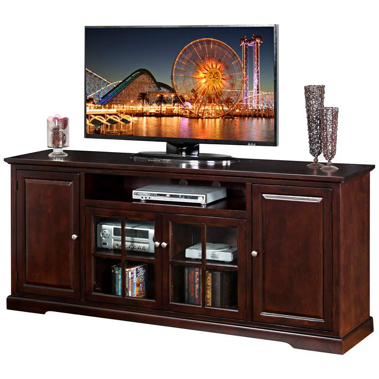 "Monterey  78"" Wide Merlot Wood 4-Door TV Media Console"