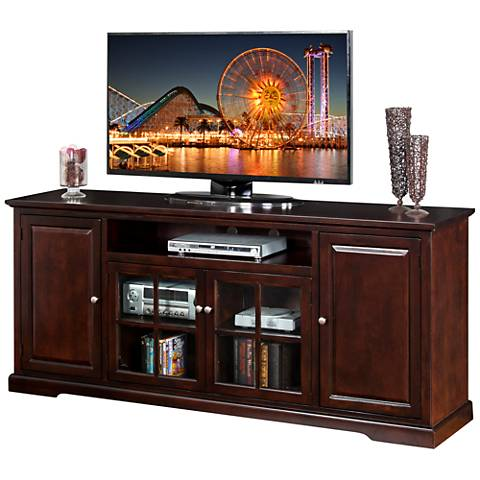 "Monterey Merlot Wood 78"" 4-Door TV Console"