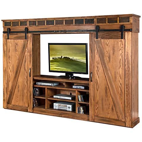 Sedona Rustic Oak Wood 4-Door Entertainment Wall