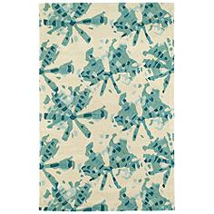 """Kaleen Pastiche PAS03-78 5'x7'9"""" Turquoise Wool Area Rug"""