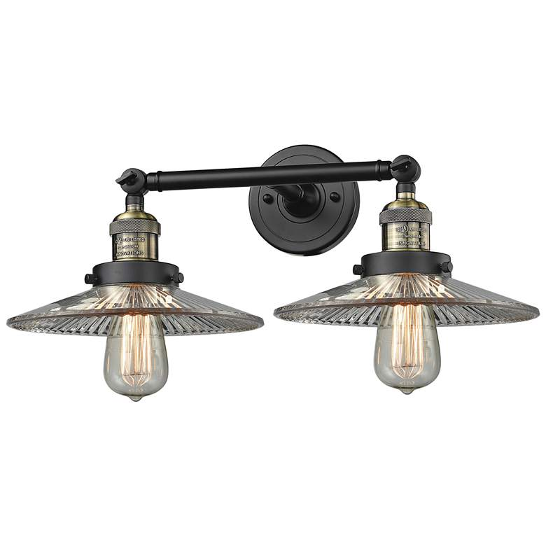 """Halophane 7""""H Black and Brass 2-Light Adjustable Wall Sconce"""