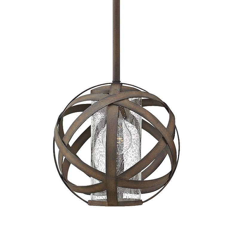 "Hinkley Carson 10"" Wide Vintage Iron Outdoor Mini Pendant"