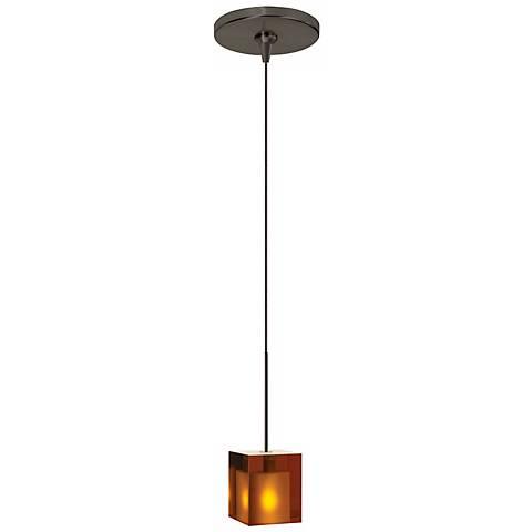 Cube Amber Glass Bronze Tech Lighting Mini Pendant