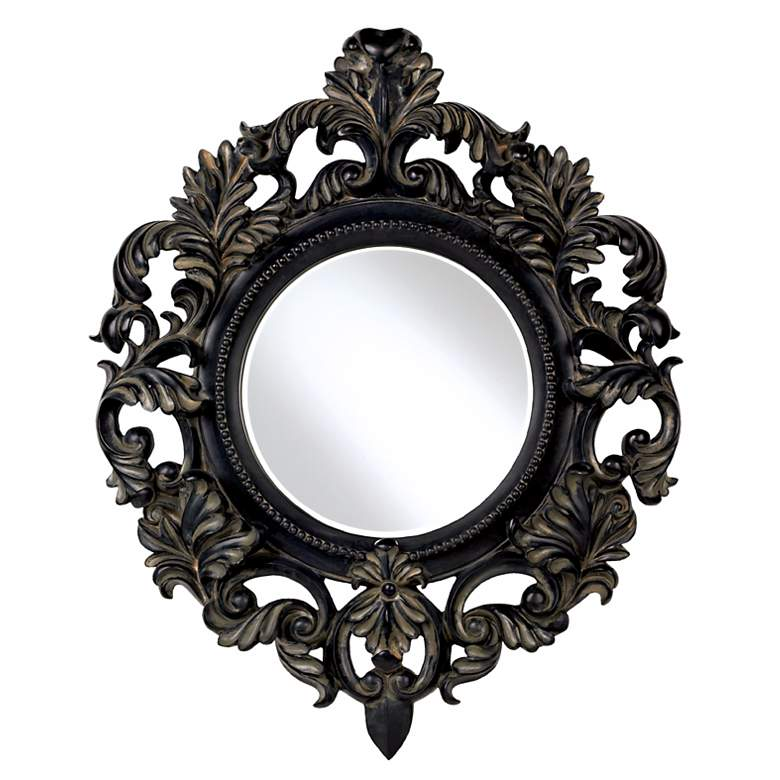 Antiqued Black Round Openwork Wall Mirror