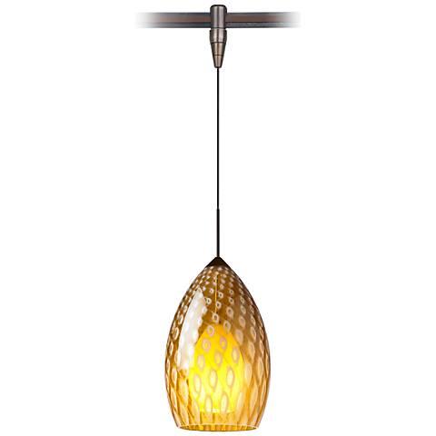 """Firebird 4 1/2""""W Murano Glass Bronze Monorail Mini Pendant"""