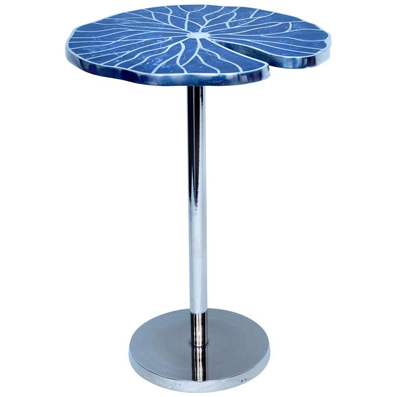 """Blue Springs 16"""" Wide Metal Inlay Blue Accent Table"""