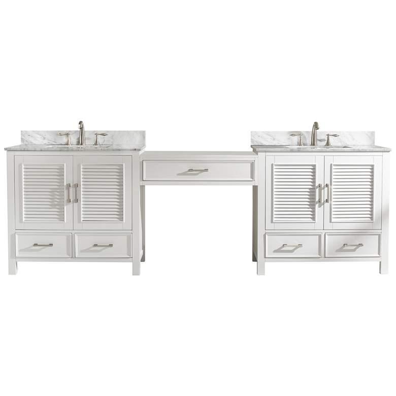 "Estate 102""W White Double Sink Bathroom Vanity Modular Set"