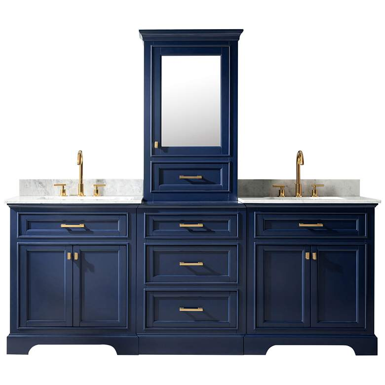 "Milano 84"" Wide Blue Double Sink Bathroom Vanity Modular Set"