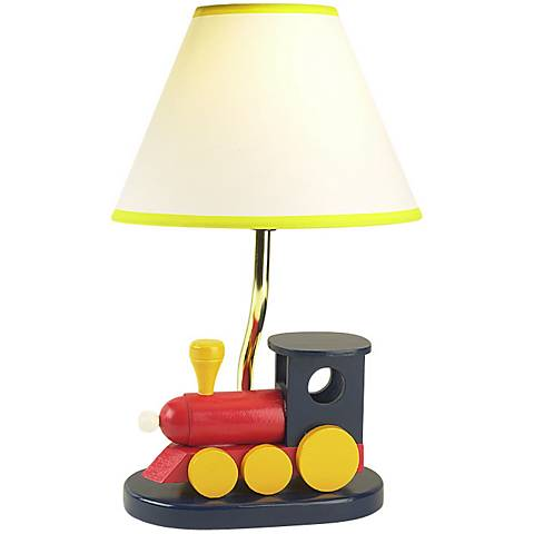 "Children's Wooden Train 15""H Accent Table Lamp"