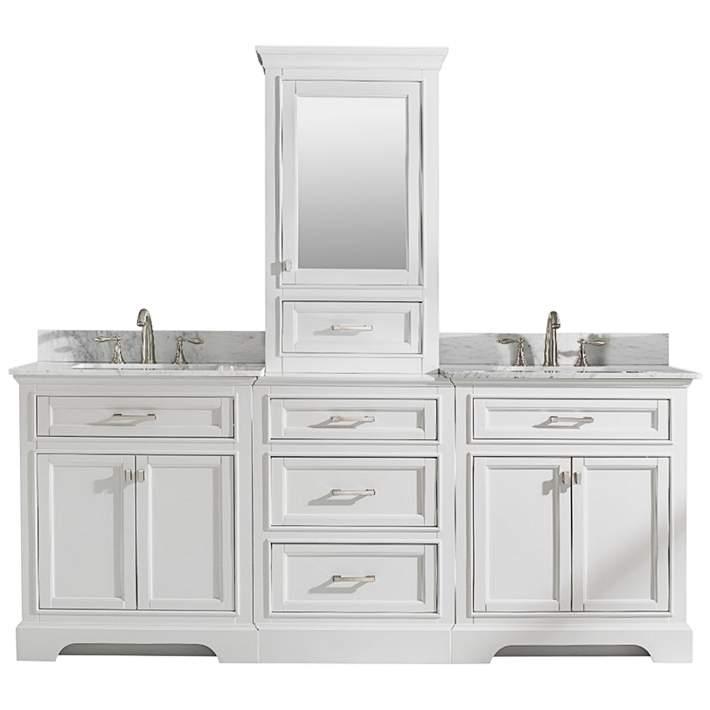 Milano 84 W White Double Sink Bathroom, White Double Sink Bathroom Vanity