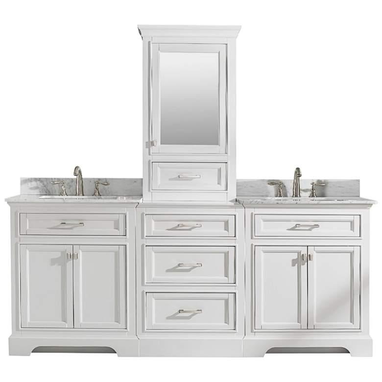 "Milano 84""W White Double Sink Bathroom Vanity Modular Set"