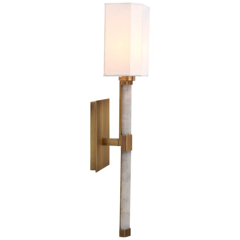 """Jamie Young Roman Hexagon 23"""" High White and Antique Brass Wall Sconce"""