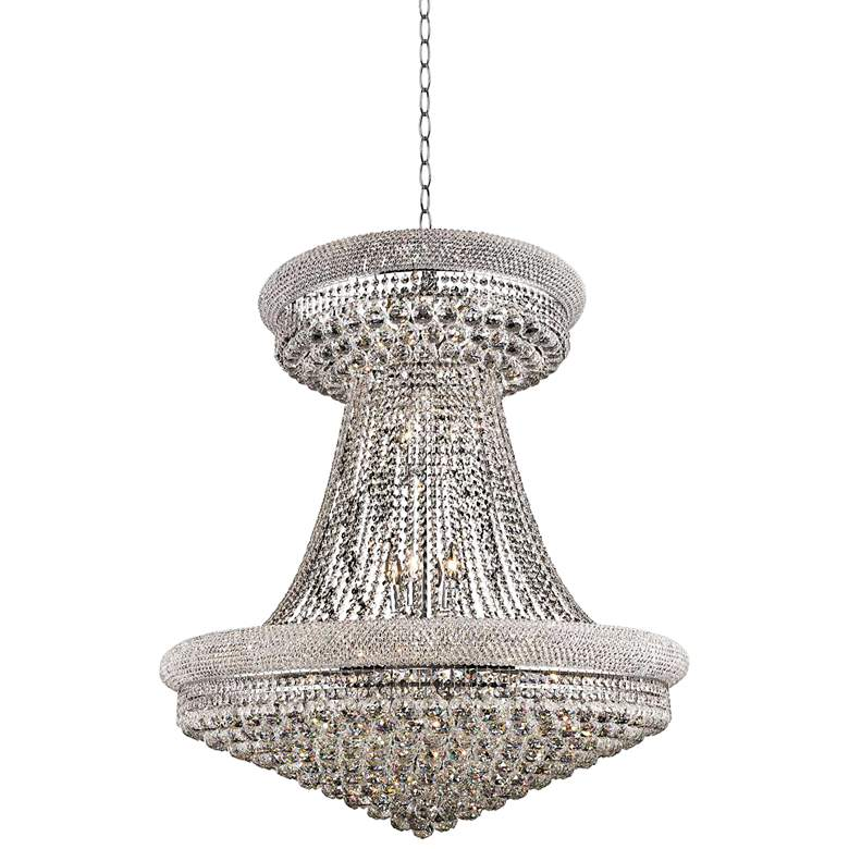 """Primo 36"""" Wide Chrome and Clear Crystal Chandelier"""