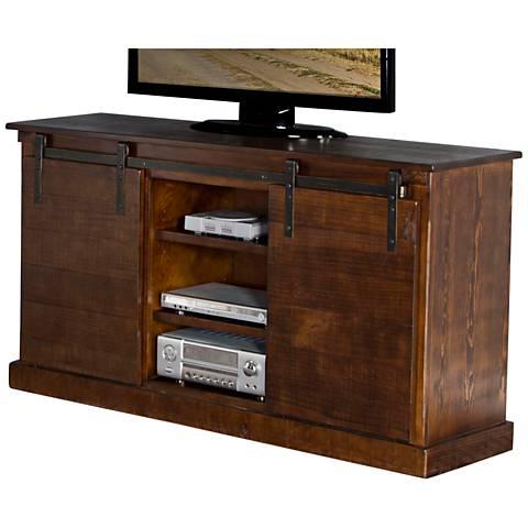 Santa Fe Distressed Dark Chocolate Wood 2-Door TV Console