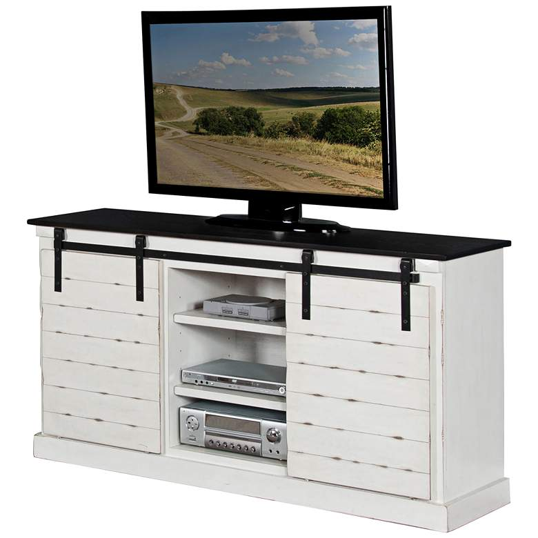 "Bourbon French 65"" Wide Country Wood 2-Door TV Console"