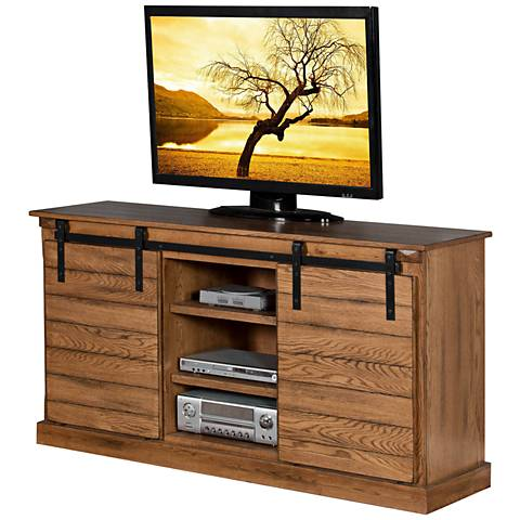 Sedona Rustic Oak Wood 2-Door TV Console