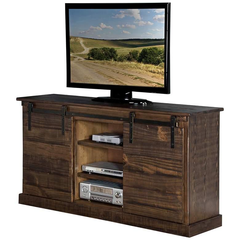 "Homestead 65"" Wide Tobacco Wood Farmhouse TV Console"