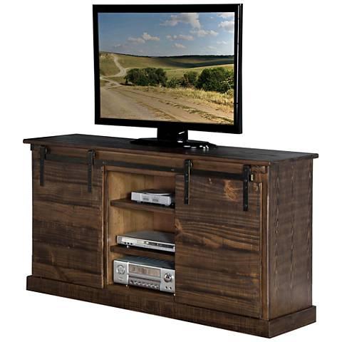 Homestead Tobacco Leaf Wood 2-Door TV Console