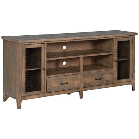 "Catalina Drift Wood 78"" 2-Door TV Console"