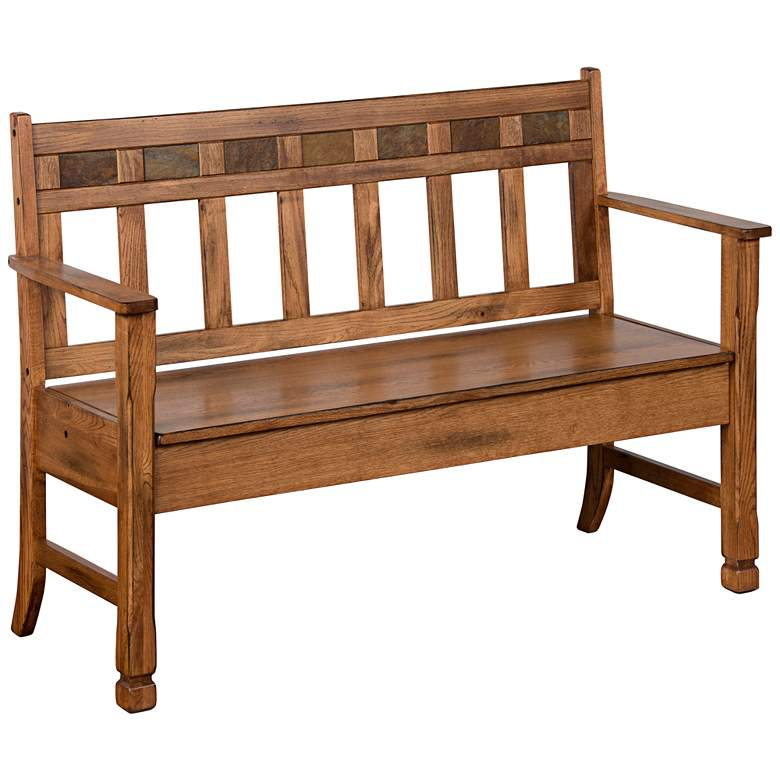 Patio Furniture Storage Bench.Sedona Rustic Oak 52 Wide Wood Storage Bench