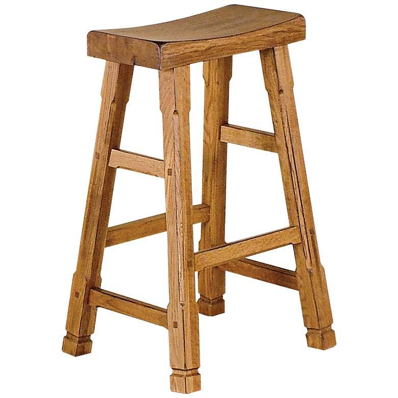 "Sedona 30"" Rustic Oak Wood Saddle Seat Bar Stool"