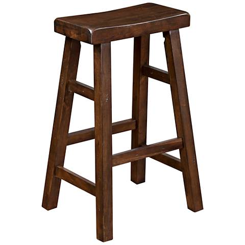 "Savannah 30"" Antique Charcoal Wood Saddle Seat Barstool"