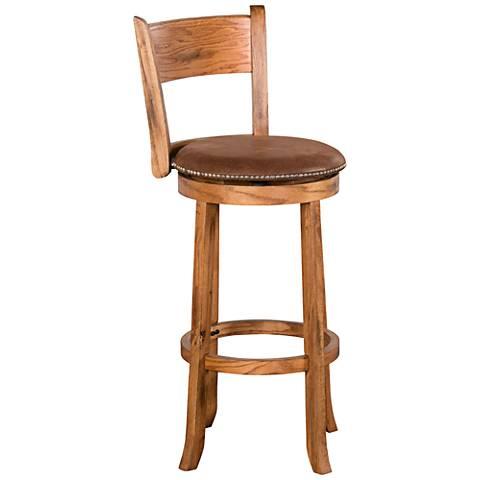 """Sedona 30"""" Rustic Oak Wood Swivel Barstool"""