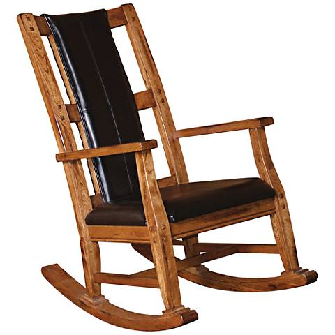 Sedona Rustic Oak Wood and Black Leather Rocker Chair