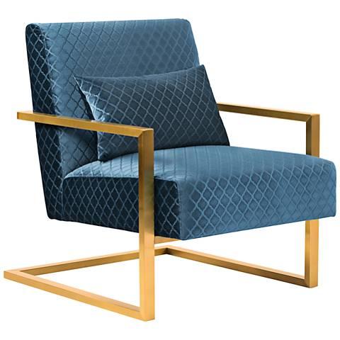 Skyline Blue Velvet Accent Chair