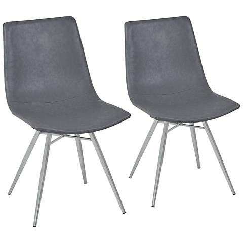 Athens Vintage Gray Faux Leather Dining Chair Set of 2
